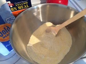 dry ingredients: corn meal, flour, sugar, salt, baking powder, baking soda