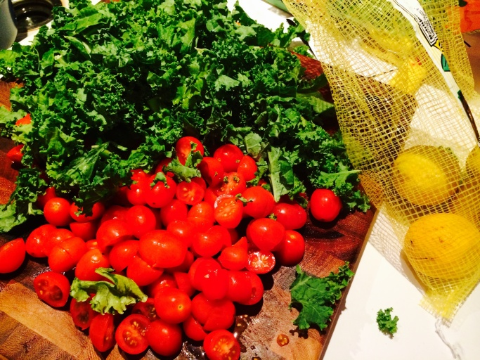 baby sweet tomatoes and kale
