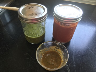 array of kickin sauces, chimichurri, tomatoe sauce (not like a ketchup) and combined results